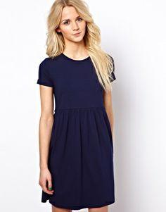 Image 1 ofASOS Smock Dress With Short Sleeves.