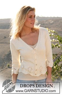 """Pattern Free Ravelry: 106-3 jacket with ¾ sleeves and textured hem in """"Muskat"""" pattern by DROPS design"""