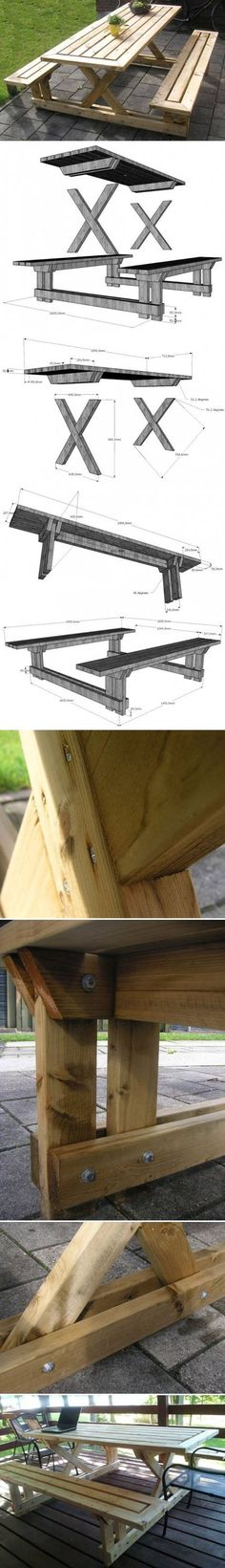 DIY Wood Garden Table With Bench | https://www.FabArtDIY.com LIKE Us on Facebook ==> www.facebook.com/... more info about round patio table read here: http://roundpatiotable.net/