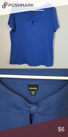 Rafaela XL women's knit top royal blue This royal blue women's extra large top is in good condition. It has a knot detail around the neck. 100% cotton Rafaella Tops Blouses
