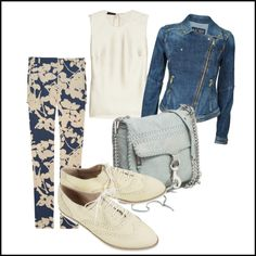 White & Blue with Denim Jacket, created by lidia