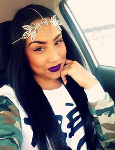 Nose ring, dark purple lipstick, makeup, eyebrows