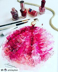#Repost @artclaytion with @repostapp #hautecouture @zuhairmuradofficial #zuhairmurad #ruffles @ellechina #Princessinpink . Nail Polish & Watercolor on Paper, March 2017. Artclaytion Fashion Illustration Series. #zuhairmurad #zuhairmuradbridal...