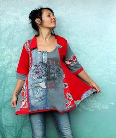 M- L Crazy recycled goth tshirts  and denim  dress tunic top hippie boho