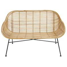 Rattan and black metal bench - Pitaya Rattan, Cane Furniture, Furniture Design, Pitaya, Kitchen Couches, Banquette 2 Places, Bright Rooms, 2 Seater Sofa, Minimalist Decor