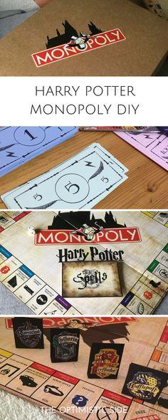 Regalo DIY - Harry Potter Monopoly para amigo, amiga, novio, novia, fans de harry potter, potterheads. Incluye printables gratuitos, fácil y barato. Cartas, tablero,fichas,  billetes, etc. - THE OPTIMISTIC SIDE