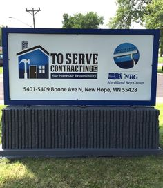 Inexpensive and temporary monument sign installed while the more substantial piece is being manufactured.