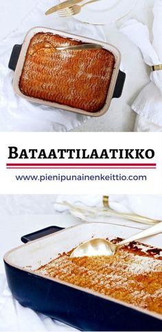 Bataattilaatikko on ihana suolaisen makea laatikkoruoka, joka sopii hyvin joulupöytään sekä viileiden päivien lämmittäjäksi. Maidoton ja munaton bataattilaatikko valmistuu näpsäkästi ja raaka-aineetkin löytyvät yleensä jokaisen kaupan tarjonnasta. Bataatit keitetään, soseutetaan ja maustetaan. Soseutuksen jälkeen bataatti saa muhia uunissa itsekseen noin tunnin verran. Bataattilaatikon makua saa helposti muunneltua mausteilla eli omien tottumuksten mukaan. Jouluista fiilistä… Gluten Free Recipes, Vegetarian Recipes, Cooking Recipes, Yummy Food, Tasty, Vegan Baking, I Love Food, Food And Drink, Favorite Recipes