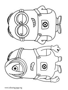 Stuart is a small one eyed minion, and Dave is a two-eyed and skinny minion. Come have fun with this amazing Despicable Me 2 coloring page!
