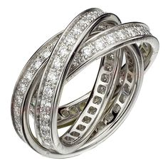 CARTIER Trinity Collection Diamond White Gold Ring | From a unique collection of vintage band rings at http://www.1stdibs.com/jewelry/rings/band-rings/