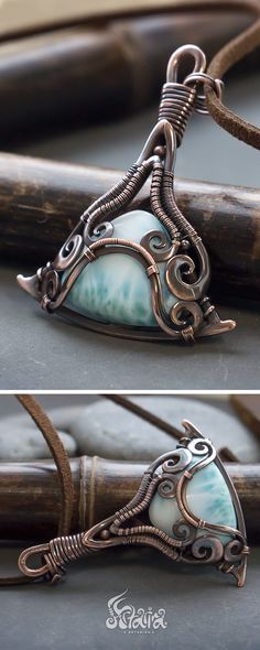 Light blue larimar copper wire wrapped pendant