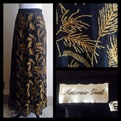 Vintage Silk & Gold Beaded Skirt Details coming soon! Vintage Skirts Maxi