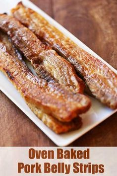 Oven Baked Pork Belly Strips Oven Baked Pork Belly Strips - Crispy, fatty, very flavorful pork belly strips are perfect as a first course, or try them for breakfast instead of bacon. Pork Belly Strips, Pork Strips, Pork Belly Recipe Oven, Crispy Pork Belly Recipes, Pork Side Meat Recipe, Recipe For Pork Belly Slices, Bacon Recipes, Cooking Recipes, Cooking Tips