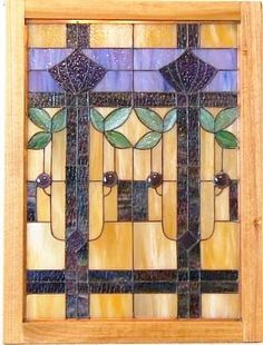 Stained glass panel Arts and Crafts prairie style by sghovel, $385.00