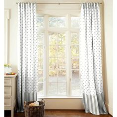 Taupe and White Dots and Stripes Drapes with Trim
