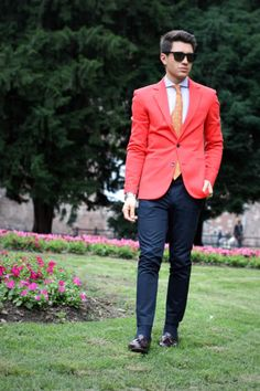 Red and navy--I like the blazer and the tie together, but not a big fan of everything else.