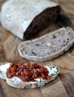 No-Knead Olive Walnut Bread - serve with goat cheese and sun dried tomatoes