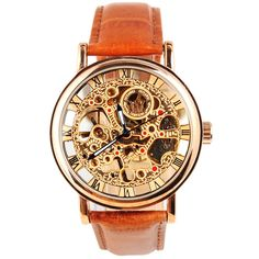 UniqueBella Brown Leather Strap Golden Stainless Case Skeleton Hollow Carve Dial Mechanical Wrist Watch
