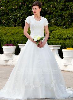 Ball-Gown V-neck Chapel Train Organza Wedding Dress With Ruffle Appliques (002011578) - JJsHouse