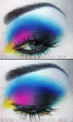 REMINDS ME OF ANNIE LENNOX TYPE MAKE UP. EVER SEE THE VIDEOS FOR * NO MORE EYE LOVE YOUS*? SHE GOES FROM NO MAKE UP TO FULL ON BRILLIANT COLORS LIKE THIS. GREAT SONG- VIDEO AND TRANSFORMATION- * SUGARPILL IS CRUELTY FREE!* Rainbow <3 sugar pill makeup
