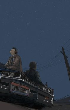 s5 - Watching the stars from the Impala, Supernatural fanart