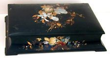 Victorian English Papier Mache Box Signed Jennens & Bettridge Mother of Pearl