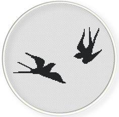 Мгновенная загрузка, бесплатная доставка, Cross рисунок строчки, Крест-StitchPDF, ласточки, zxxc0530