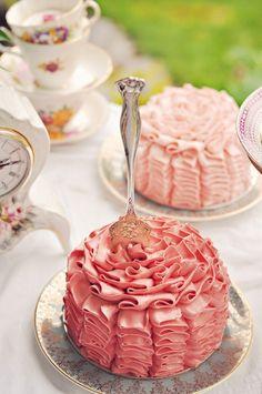 ruffled cakes on vintage china