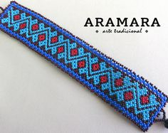 Mexican Huichol Beaded Blue Tribal Bracelet by Aramara Loom Bracelet Patterns, Peyote Patterns, Cross Stitch Patterns, Seed Bead Necklace, Seed Bead Bracelets, Beard Jewelry, Sewing Sleeves, Tribal Bracelets, Mexican Jewelry