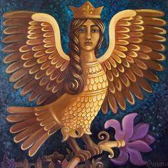 "medium size square original painting ""The bird Sirin"" by weavinghouse on Etsy"