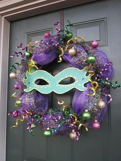 Items similar to Mardi Gras Wreath on Etsy Diy Wreath, Mesh Wreaths, Holiday Wreaths, Mardi Gras Wreath, Mardi Gras Decorations, Mardi Gras Carnival, Mardi Gras Party, Masquerade Party, Diy Crafts