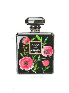 poppies-on-coco-chanel-perfume-illustration by inkstruck
