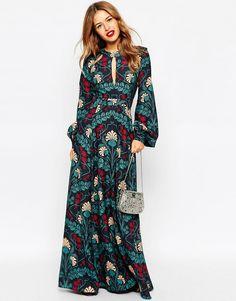 Image 4 - ASOS PETITE - Robe longue style caftan à détail goutte d'eau et imprimé fleuri