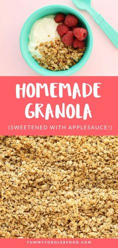 Learn how to make homemade granola with this easy recipe that relies on a fool-proof lower baking temperature to avoid the risk of burning AND delicious crunch. Clean Eating Snacks, Healthy Snacks, Healthy Recipes, Baby Food Recipes, Gourmet Recipes, Homemade Applesauce, Toddler Meals, Toddler Food, How To Make Homemade