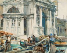 """John Singer Sargent (American, 1856–1925). """"Santa Maria della Salute,"""" 1904. Translucent and opaque watercolor and graphite with graphite underdrawing; Brooklyn Museum"""