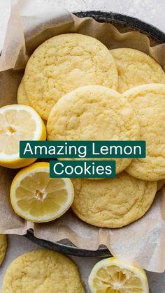 Lemon Desserts, Lemon Recipes, Cookie Desserts, Just Desserts, Sweet Recipes, Baking Recipes, Cookie Recipes, Delicious Desserts, Snack Recipes