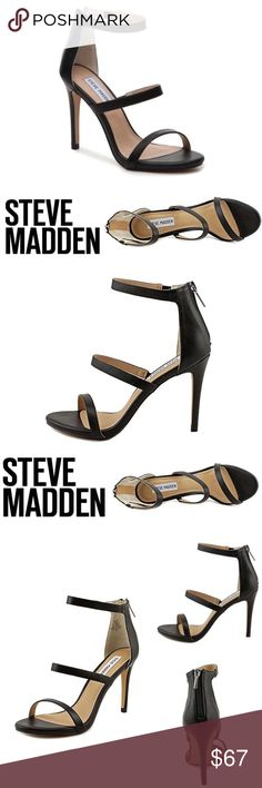 "Steve Madden FeelYa Black Leather Sandal Strappy Strut to the beat of your personal theme song in the Feelya strappy sandals from Steve Madden! This heel will Feelya when you need a good pick-me-up.  * Faux leather or faux patent leather upper * Back zipper closure * Elastic inserts for stretch fit * Cushioned insole * 4"" covered heel * SIZE 7.5 * EUC WORN ONCE FOR A WEDDING - ONLY MINIMAL SIGNS OF WEAR AT SOLE * COMES WITH ORIGINAL BOX Steve Madden Shoes Heels"