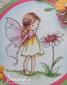 Copics: Skin - E0000, E000, E00, E11, R20, R30 / Hair - YR0000, YR000, YR00, E13, E18, E25 / Dress, Flower Centres & Shoes - Y000, Y00, Y15, Y38 / Cardigan & Flowers - R81, R85, 00 / Ladybird - R81, R35 / Leaves - G21, G82, G14, 00 Crafting Crackers: Sugar Nellie