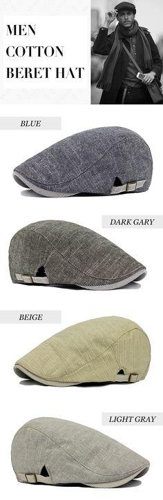 b3f6867dddf Men Cotton Beret Hat Buckle Adjustable Paper Boy Newsboy Cabbie Golf  Gentleman Cap