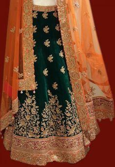 Bridal Lehengas - Velvet Dark Green Lehenga with Gold Zardosi Border and orange border, Orange net dupatta with gold embroidery by Frontier Bazar | WedMeGood #wedmegood #velvet #lehengas