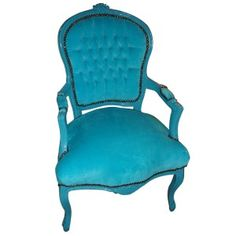 bright blue velvet chair