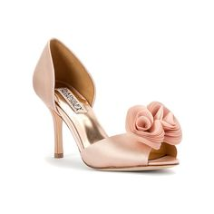 Badgley Mischka Thora Pump (260 CAD) ❤ liked on Polyvore featuring shoes, pumps, d'orsay pumps, pink satin, women's, pink peep toe pumps, badgley mischka shoes, pink shoes, pink pumps and evening pumps