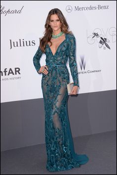 Isabel Goulart wears ELIE SAAB Ready-to-Wear Fall Winter 2013-14 to the amFAR 20th Annual Cinema Against AIDS gala at The 66th Annual Cannes Film Festival.