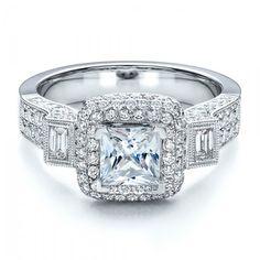 Princess-Cut Halo Engagement Ring - Vanna K