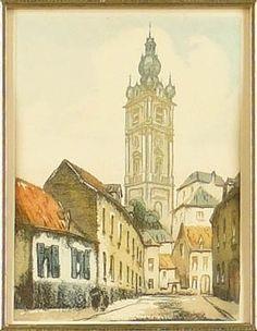 Eau-Forte couleur - Beffroi de Mons - signé Belin pour HEBBELINCK Roger (Bruxelles 1912, )