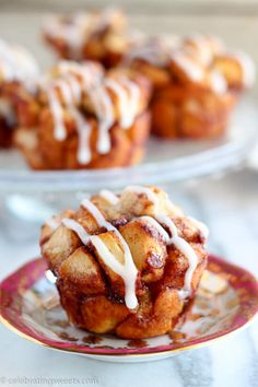 Cinnamon Roll Monkey Bread Muffins Recipe ~ Use cinnamon rolls for this easy and tasty twist on monkey bread. Sweet, soft, filled with cinnamon, and topped with cream cheese icing!