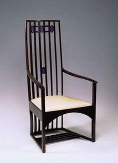 Armchair - Charles Rennie Mackintosh, Music Room Hous'hill 1904
