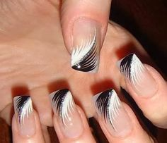 Black and White feather nail art !