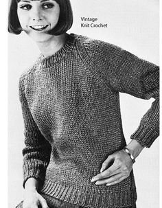 Vintage Knitting PATTERN Knitted Raglan Sleeved Ribbed Turtleneck Sweater Top