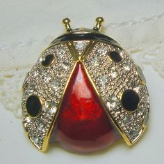 Vintage Ladybug Pin..ReD, BLaCK, Gold with White Rhinestones...GLAM..1980
